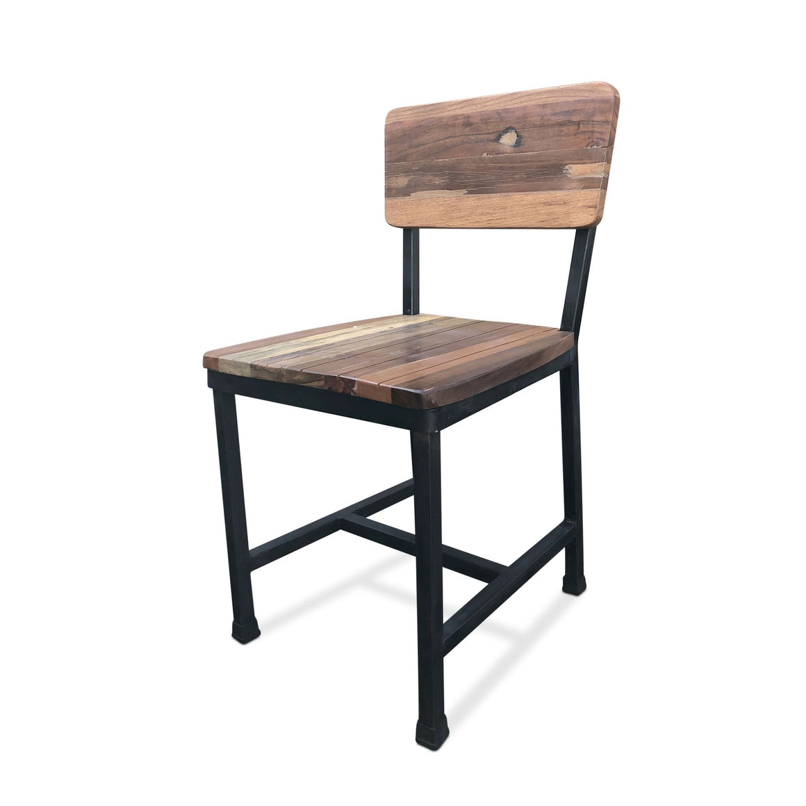 Modern Industrial Dining Chair -Metal Reclaimed Hardwood - Set of 2 - Rustic Deco Incorporated