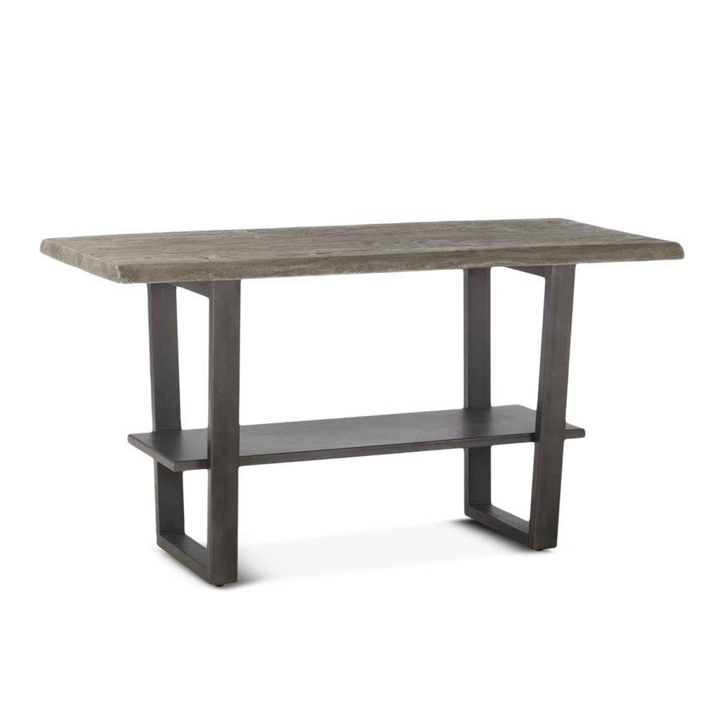 Modern Industrial Gathering Bar Height Table - Cast Iron - Weathered Gray Distressed Top Pub Table HT&D