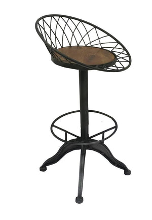 Modern Industrial Metal Swivel Wood Top Barstool - Rustic Deco Incorporated