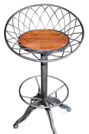 Industrial Egg Basket Factory Stool - Swivel Seat Metal Base Wooden Seat-Rustic Deco Incorporated