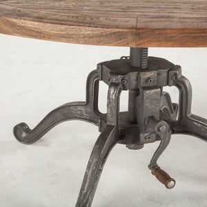 Modern Industrial Round Coffee Table - Adjustable Crank - Weathered Top Dining Table HT&D