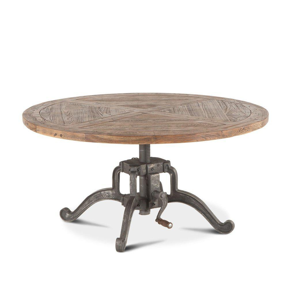Modern Industrial Round Coffee Table - Adjustable Crank - Weathered Top - Rustic Deco Incorporated