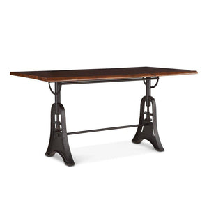 "Modern Rustic Industrial Gathering Bar Table 72"" Pub Table Acacia Wood Live Edge Slab & Cast Iron Base Dining Table HT&D"