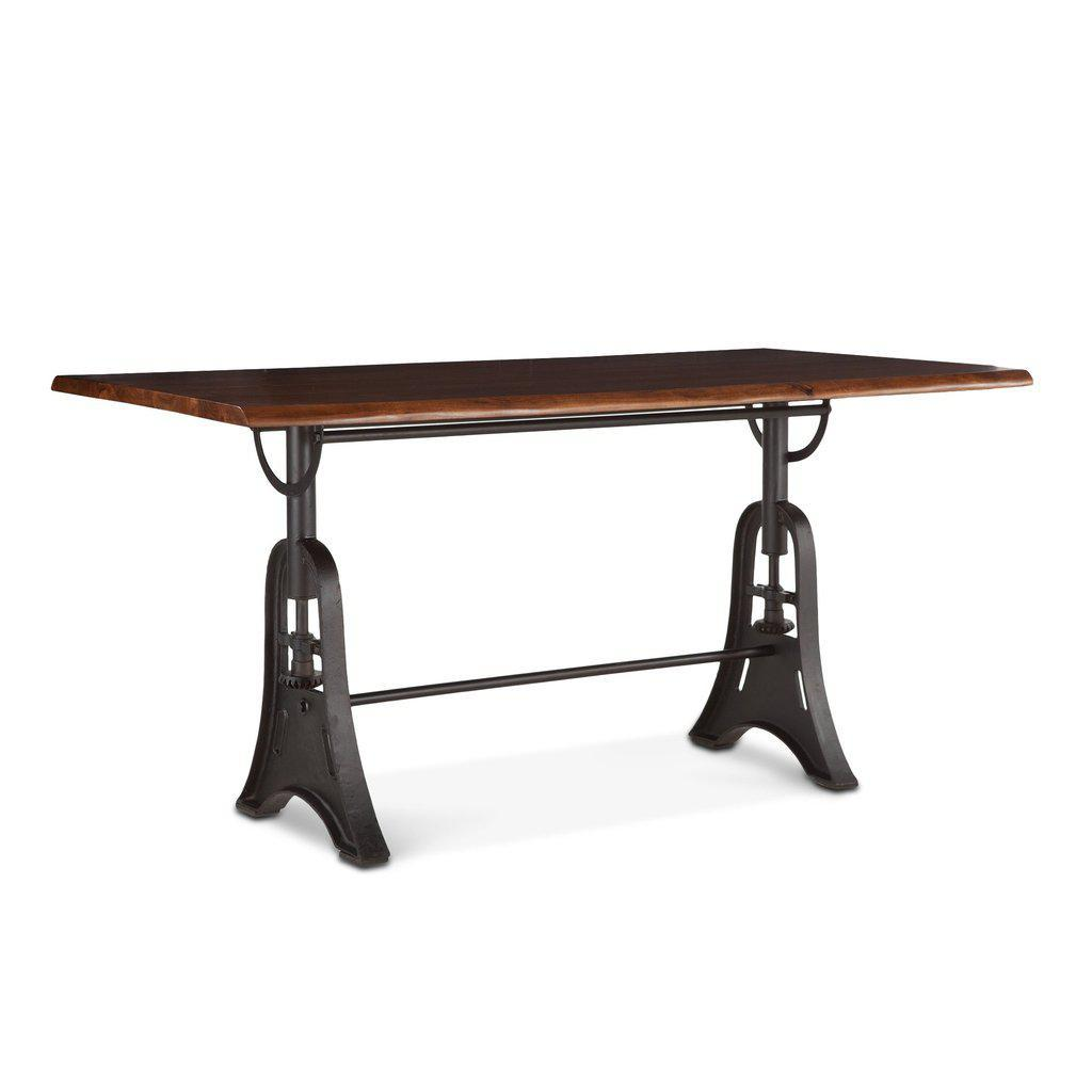 "Modern Industrial Gathering Pub Table 72"" - Live Edge Slab - Cast Iron Base - Rustic Deco Incorporated"