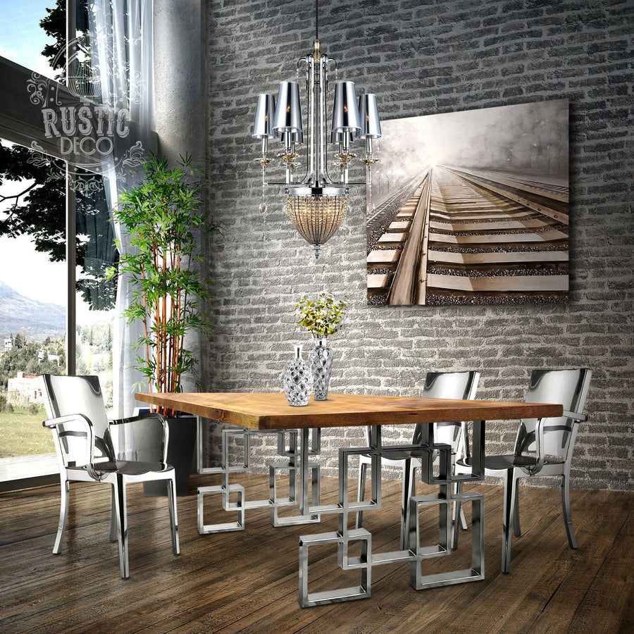 Modern Stainless Steel Metal Dining Chair - Armchair - Set of 2 - Rustic Deco Incorporated