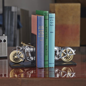 Motorcycle Bookends - Polished Aluminum - Brass - Iconic - Rustic Deco Incorporated
