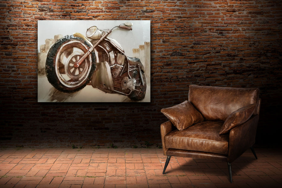 "Motorcycle Climb Rustic 3D Metal Wall Art - 48"" x 36"" - Rustic Deco Incorporated"