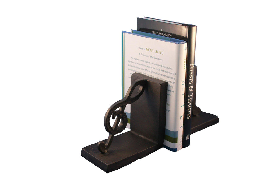Musical Notes Cast Iron Bookends - Metal - Pair - Rustic Deco Incorporated