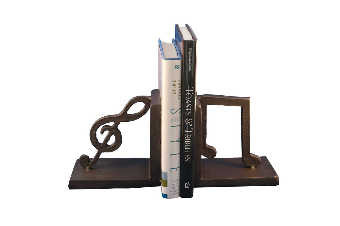 Musical Notes Cast Iron Bookends - Metal - Pair Bookends Rustic Deco
