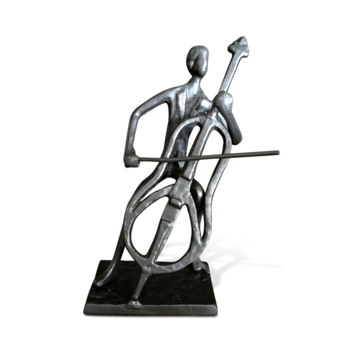 Musician Playing Cello Sculpture Figurine - Cast Iron - Abstract - Rustic Deco Incorporated