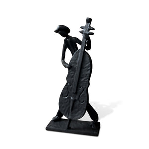 Jazz Cowboy Musician Playing Cello Sculpture Cast Iron-Rustic Deco Incorporated