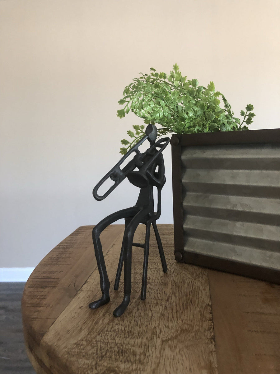 Musician Sitting Playing Trombone Figurine - Cast Iron - Abstract Sculpture - Rustic Deco Incorporated