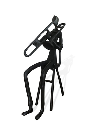 Musician Sitting Playing Trumpet Sculpture Rustic Deco