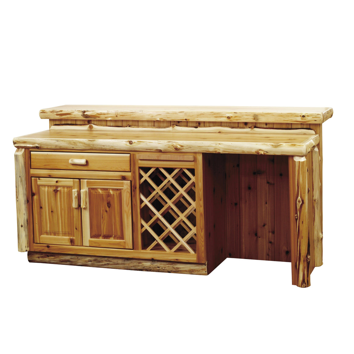 Natural Cedar 7 Foot Log Home Bar with Standard Cabinet Bar Fireside Lodge Liquid Glass Finish Refrigerator Opening on Right