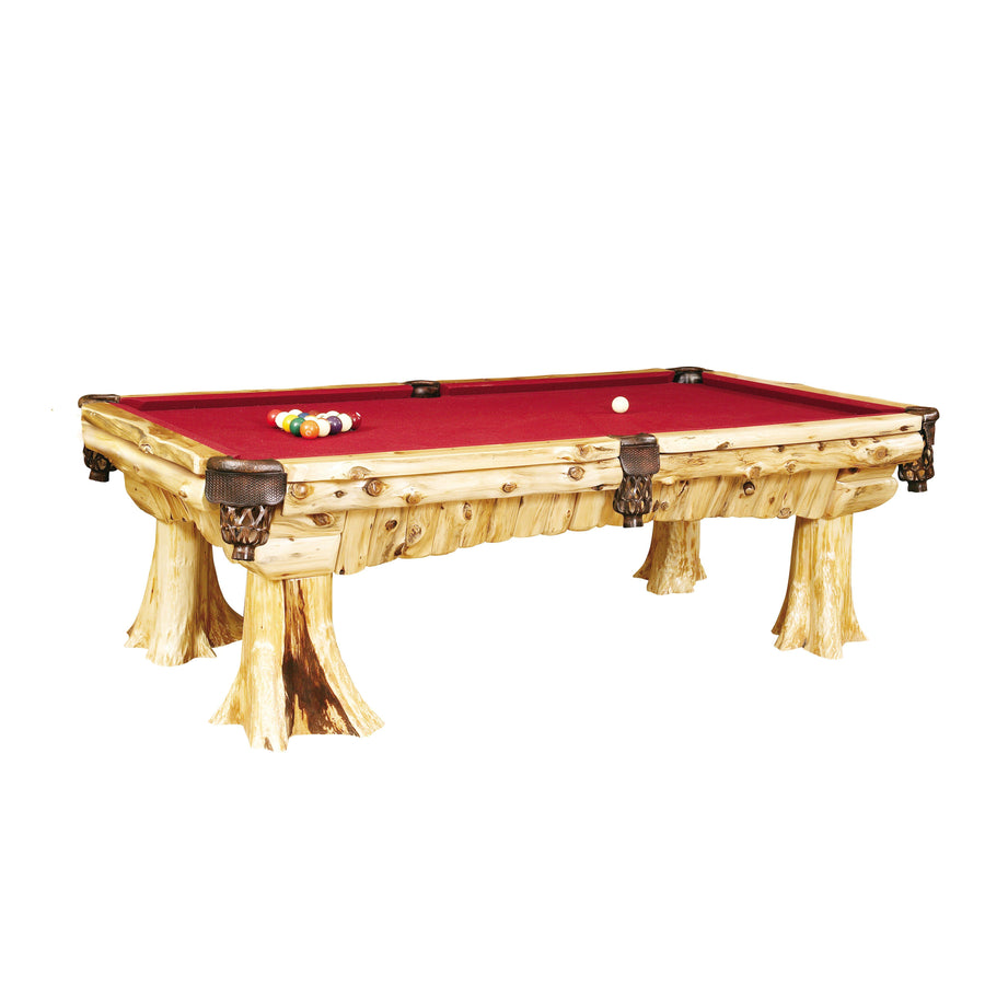 Natural Cedar Log Cedar Pool Table - (includes cloth) Game Fireside Lodge