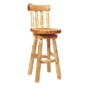 "Natural Cedar Log Swivel Counter Stool with spoked back - 24"" high - Wood Seat - Rustic Deco Incorporated"