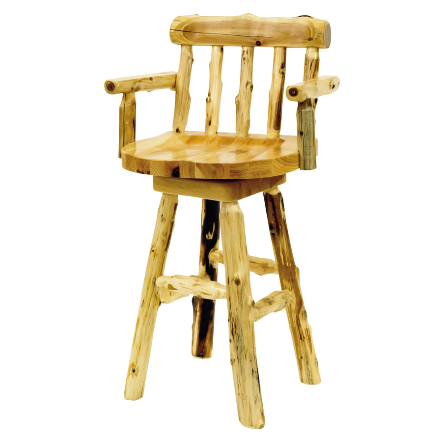"Natural Cedar Log Counter Stool with back and arms - 24"" high - Wood Seat-Rustic Deco Incorporated"