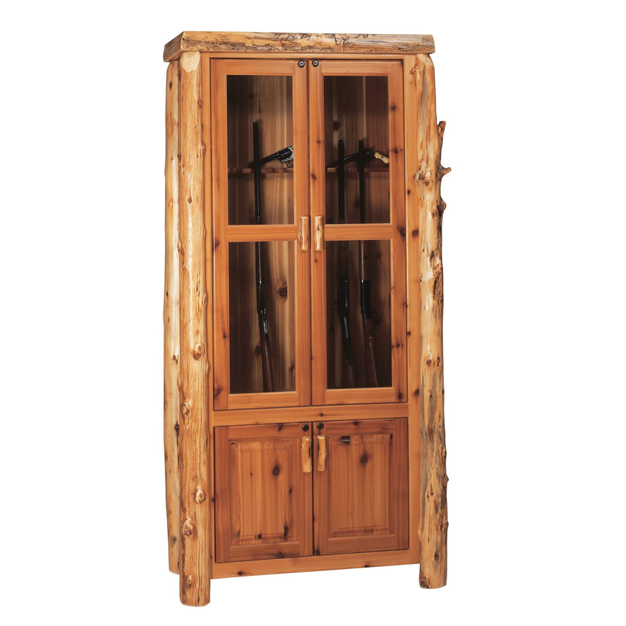 Natural Cedar Log Eight Gun Cabinet - Standard Finish Console Fireside Lodge