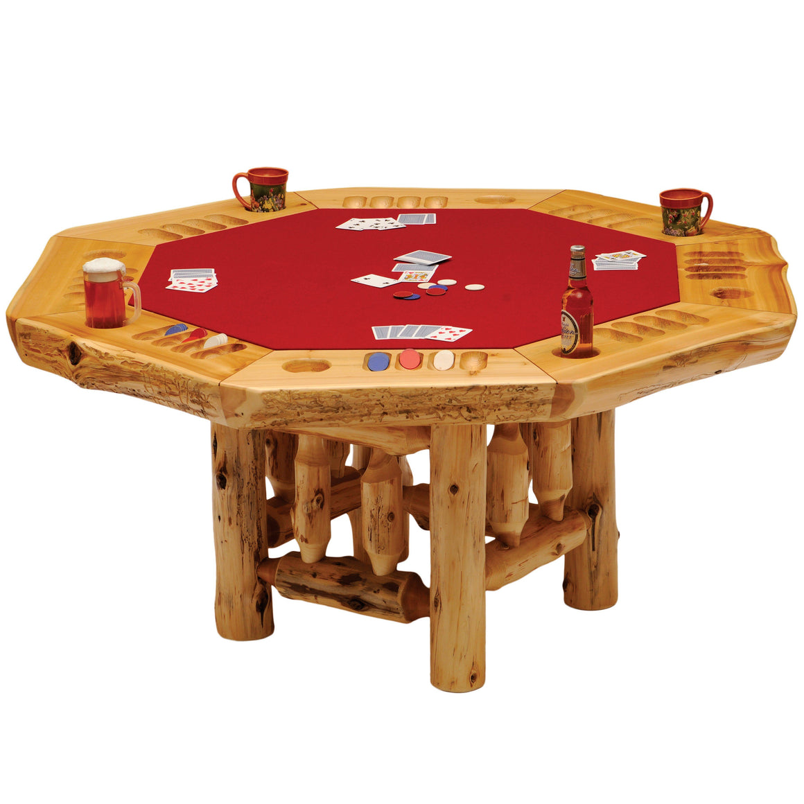 6-sided Cedar Log Poker Table - Armor Finish Top - Optional Dining Table Cover in 3 finishes-Rustic Deco Incorporated