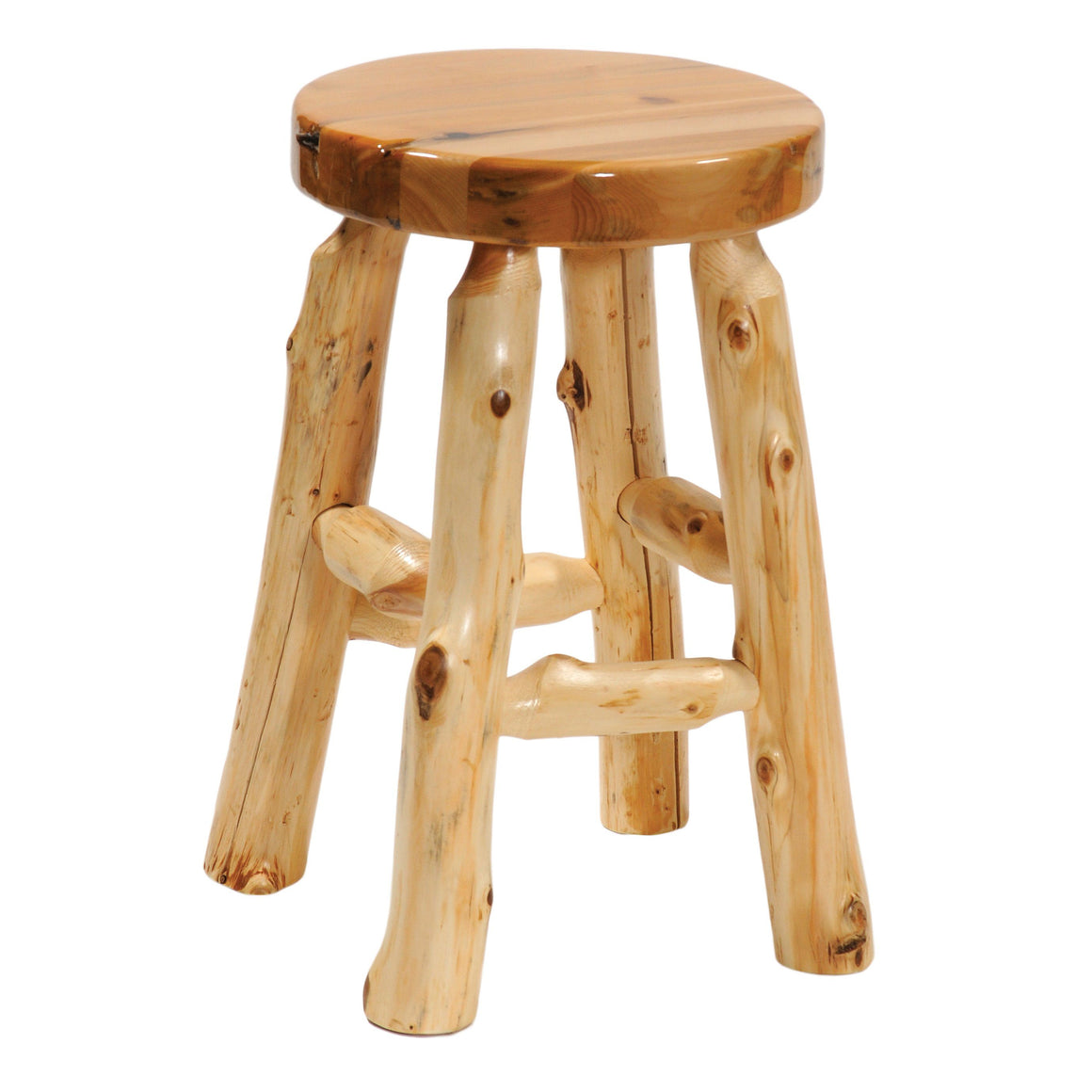 "Natural Cedar Log Round Counter Stool - 24"" high - Liquid Glass Finish - Rustic Deco Incorporated"