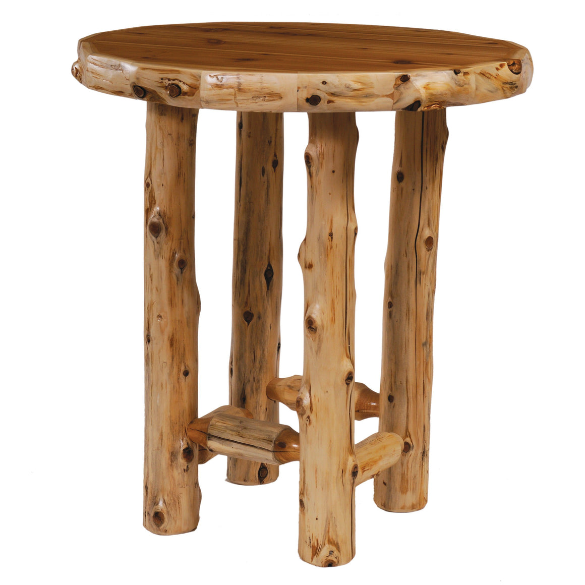 Natural Cedar Log Round Pub Table 32-36-40 Inch-Rustic Deco Incorporated