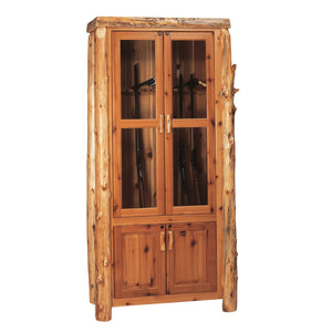Natural Cedar Log Twelve Gun Cabinet - Standard Finish Console Fireside Lodge