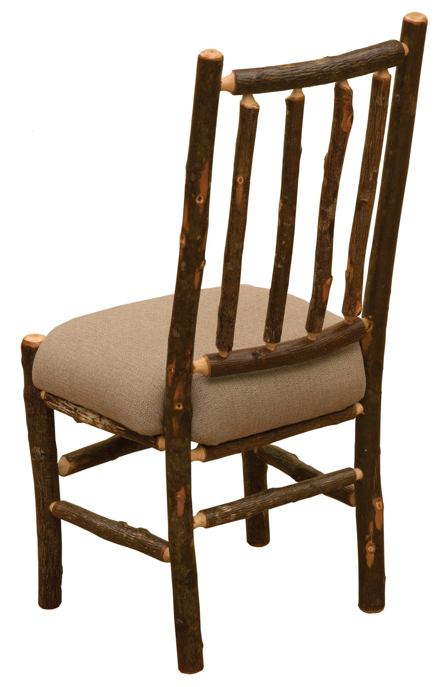 Natural Hickory Bistro Spoke Back Side Chair - Upholstered Seat - Rustic Deco Incorporated