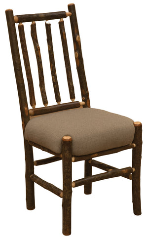 Natural Hickory Bistro Spoke Back Side Chair - Upholstered Seat-Rustic Deco Incorporated