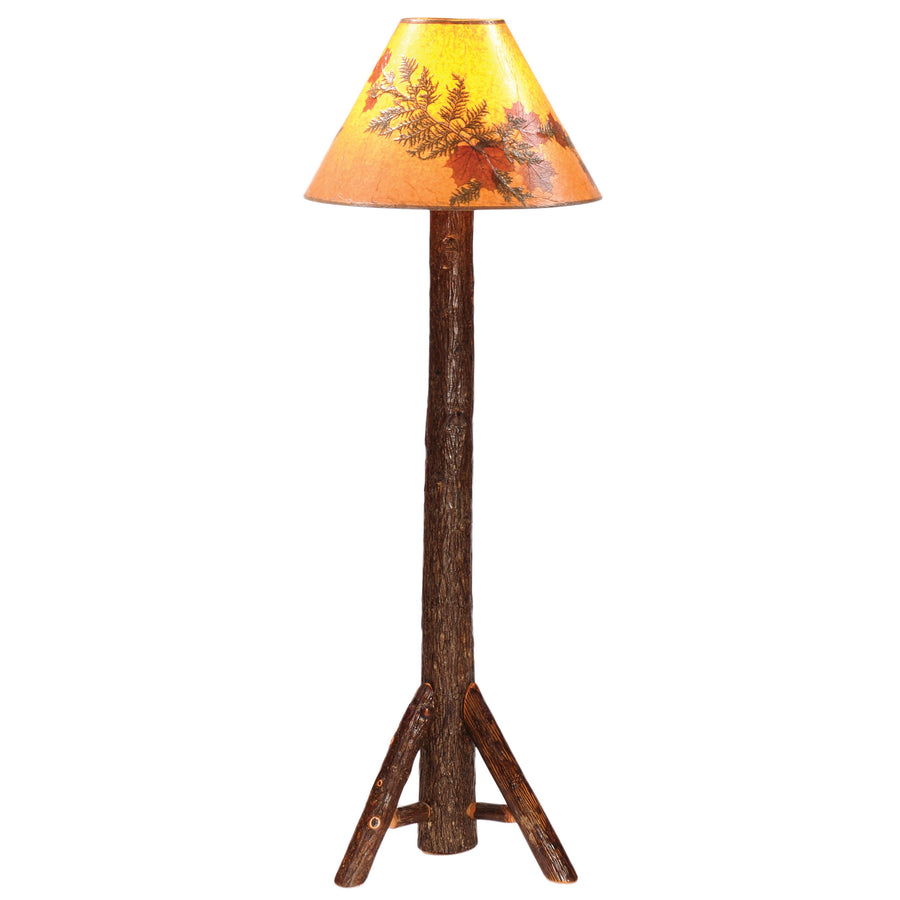 Real Hickory Floor Lamp - Bark On Hardwood Tripod Base Handcrafted USA - Rustic Deco Incorporated