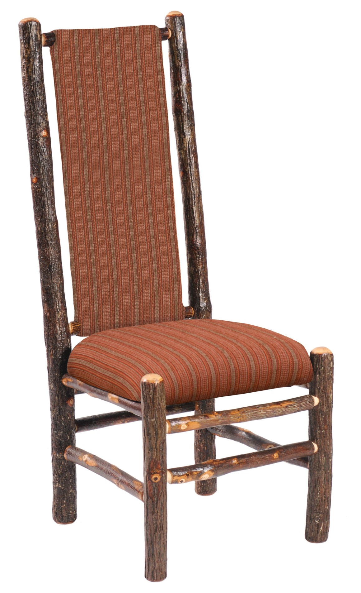 Natural Hickory High Back Upholstered Back Side Chair - Standard Finish - Rustic Deco Incorporated