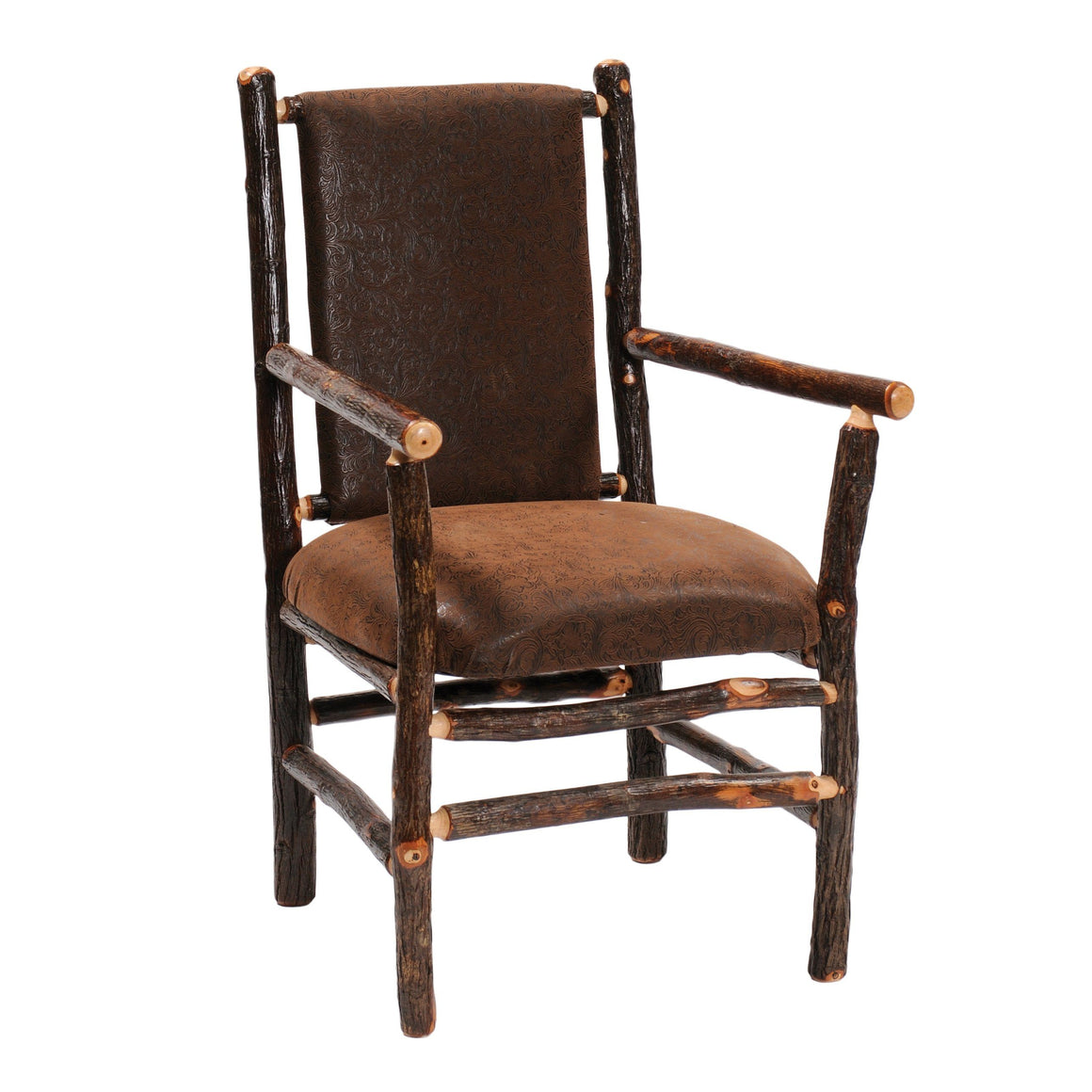 Natural Hickory Log Arm Chair - Standard Finish Chair Fireside Lodge Customer's Own Material