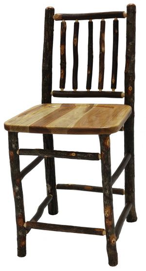 "Natural Hickory Log Bar Stool - 30"" high- Wood Seat - Standard Finish Stool Fireside Lodge Antique Oak - Wood Seat"