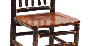 "Natural Hickory Log Bar Stool - 30"" high- Wood Seat - Standard Finish Stool Fireside Lodge Cognac - Wood Seat"