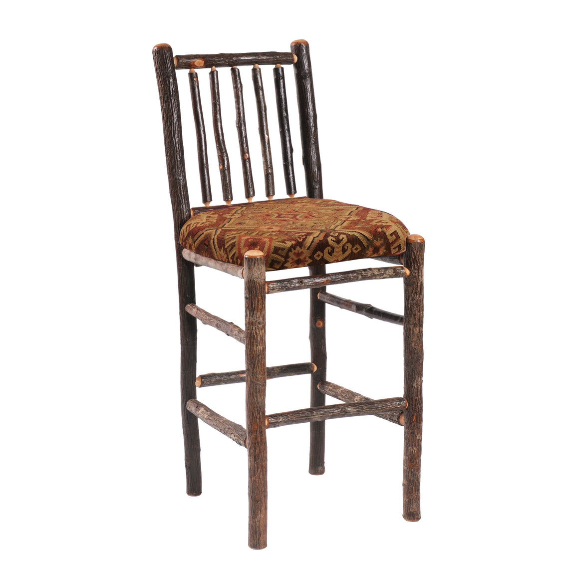 "Natural Hickory Log Bar stool - Upholstered Seat - 30"" high-Rustic Deco Incorporated"