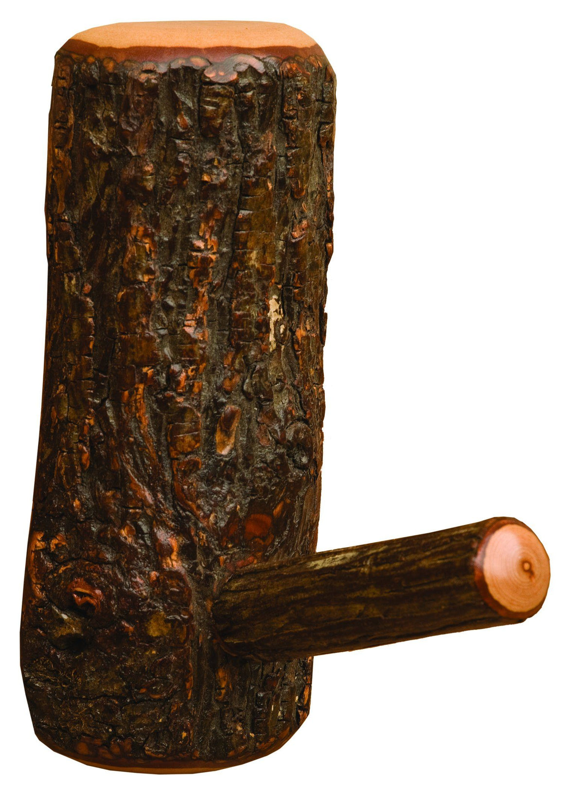 Real Hickory Log Coat Hook - Bark On One-of-a-Kind - Rustic Deco Incorporated