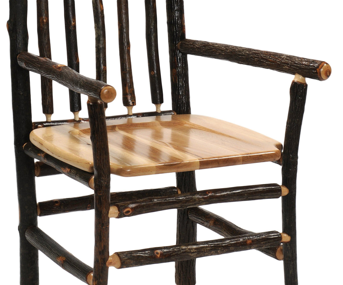 "Real Hickory Log Wooden Counter Stool Chair - 24"" High-Rustic Deco Incorporated"