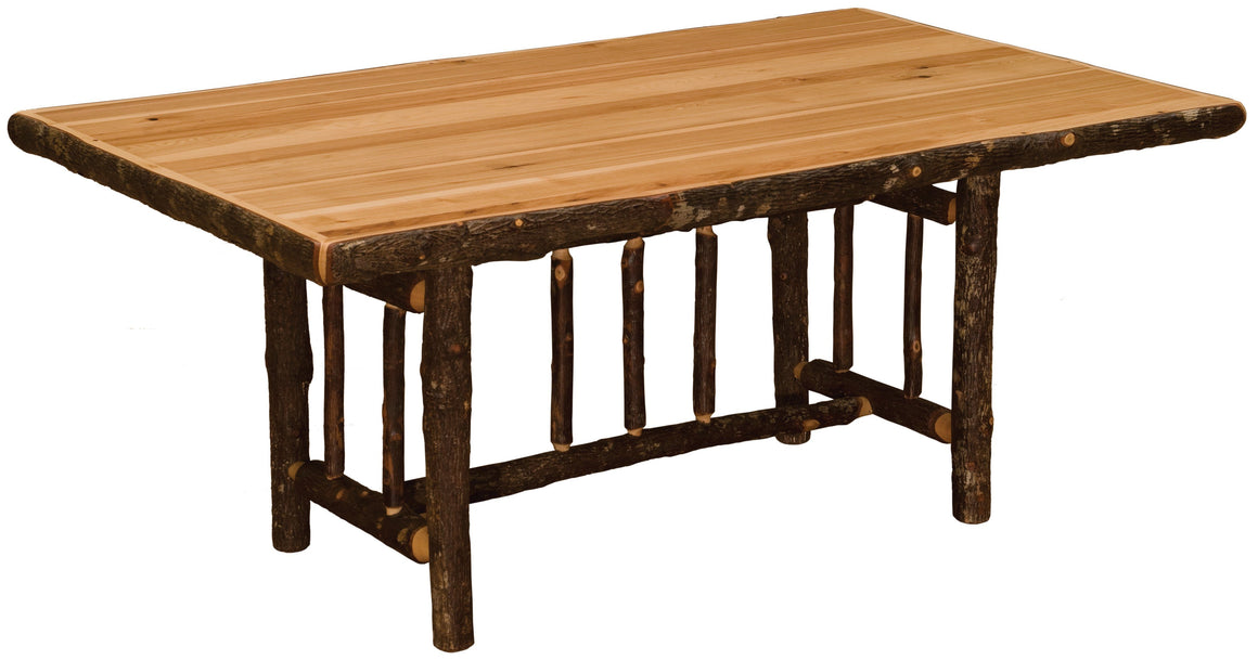 Natural Hickory Log Dining Table - Bark On Legs Custom Sizes - Armor Finish - Rustic Deco Incorporated