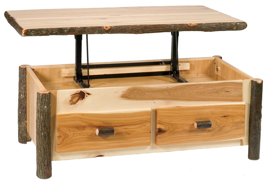 Natural Hickory Log Enclosed Coffee Table - Elevating Top- Standard Finish - Rustic Deco Incorporated