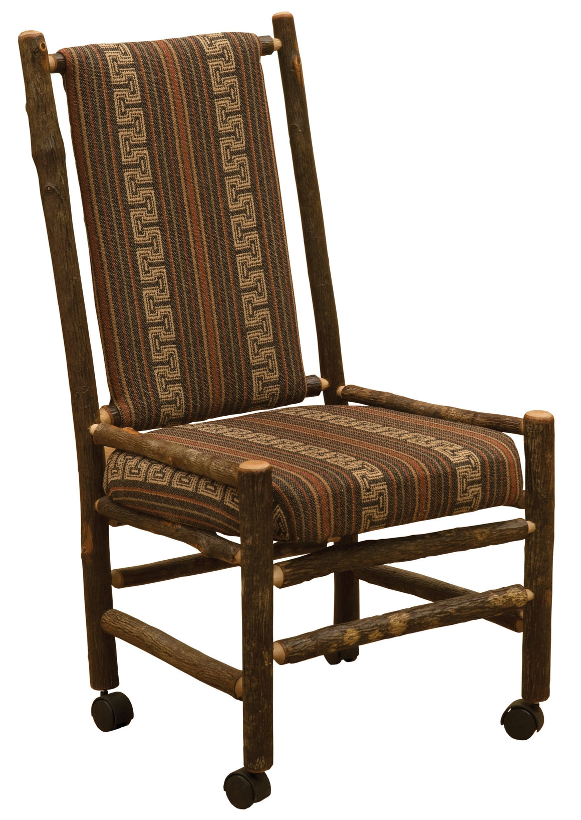 Natural Hickory Log  Executive Chair - Upholstered Back and Seat on Casters - Rustic Deco Incorporated