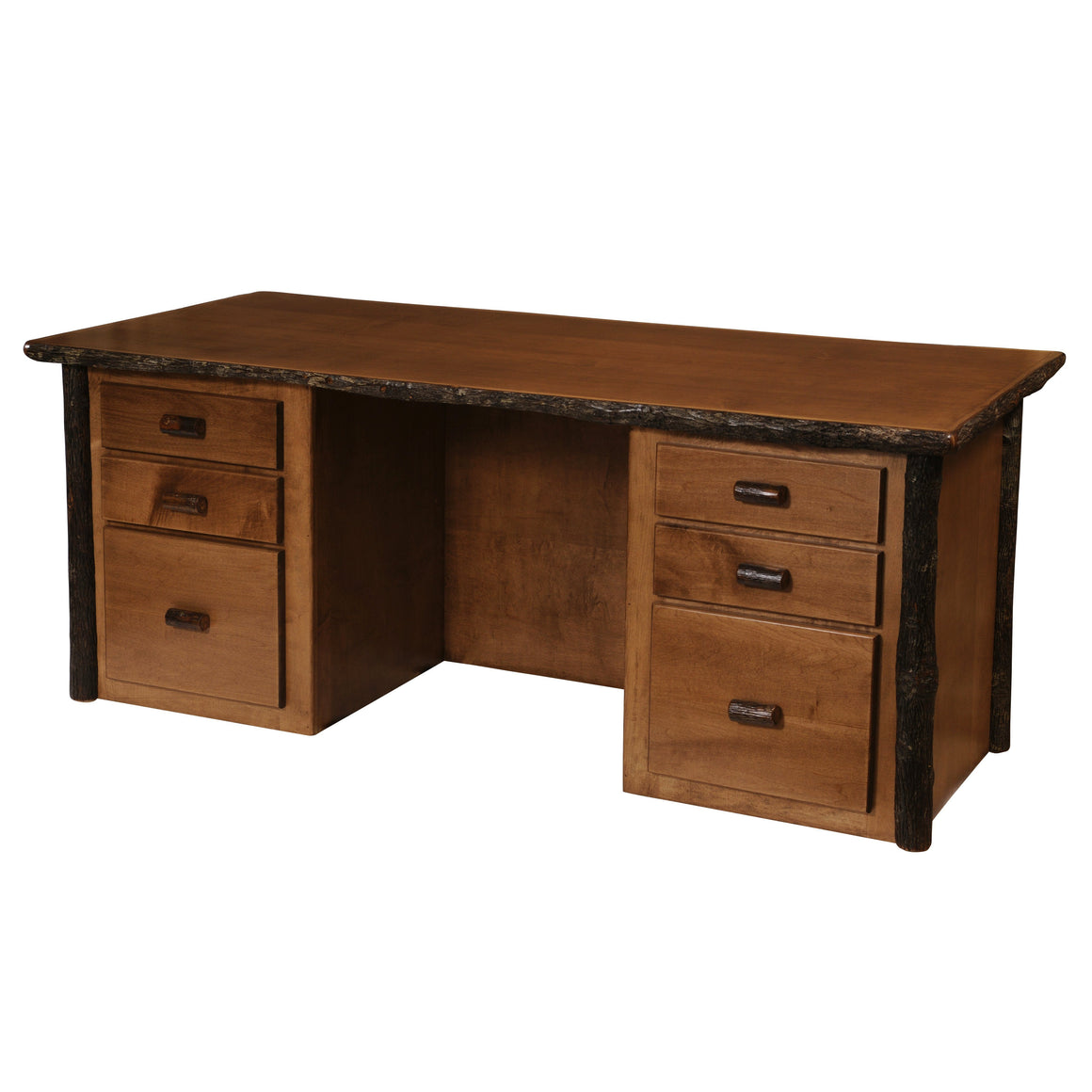 Natural Hickory Log Executive Desk - Custom Handmade USA - Armor Finish - Rustic Deco Incorporated
