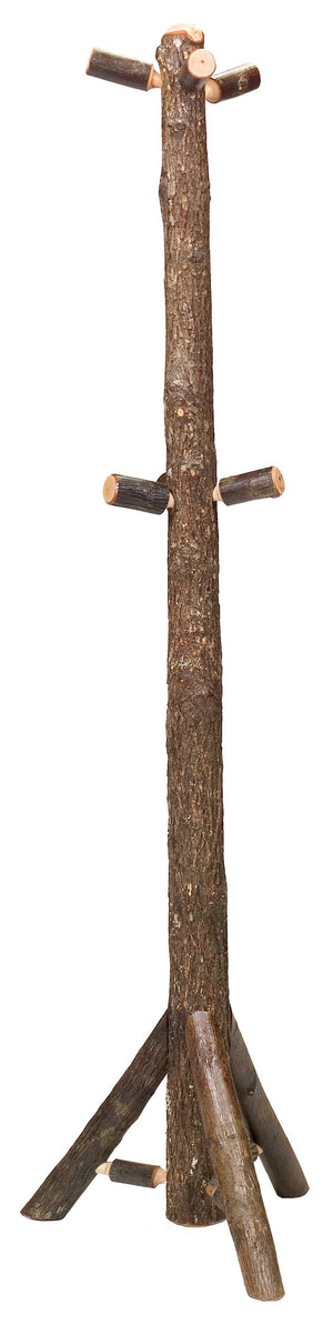 Natural Hickory Log Floor Coat Tree Hat Hanger - Bark On - Handmade USA-Rustic Deco Incorporated