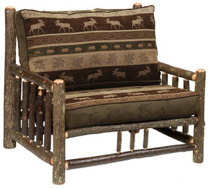Natural Hickory Log Frame Chair-and-a-Half - Includes Fabric and Cushions - Rustic Deco Incorporated