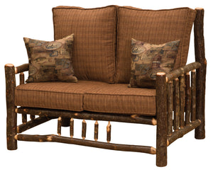 Natural Hickory Log Frame Loveseat Includes Fabric and Cushions Sofa Fireside Lodge