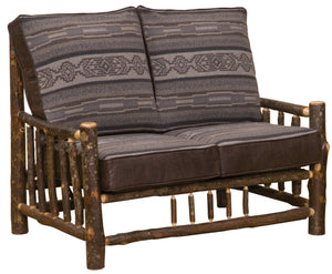 Natural Hickory Log Frame Loveseat Includes Fabric and Cushions Sofa Fireside Lodge Customer's Own Material