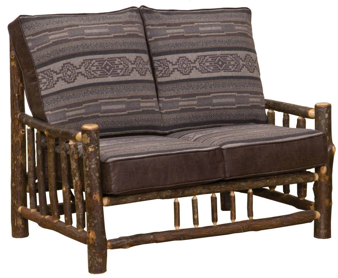 Natural Hickory Log Frame Loveseat Includes Fabric and Cushions - Rustic Deco Incorporated