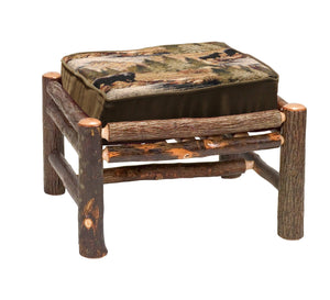 Natural Hickory Log Frame Ottoman - Real Logs - Custom Fabric-Rustic Deco Incorporated