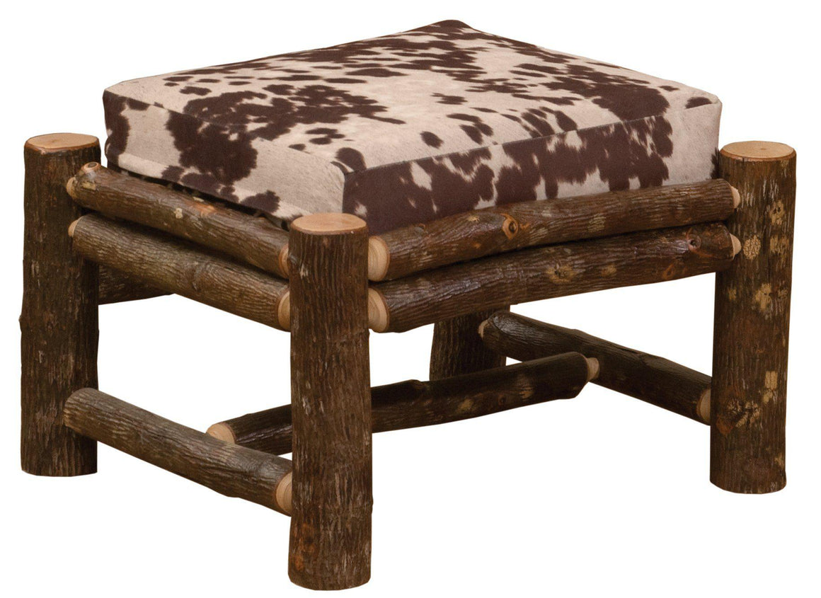 Natural Hickory Log  Frame Ottoman - Lounge Chair - Includes Fabric and Cushion - Rustic Deco Incorporated