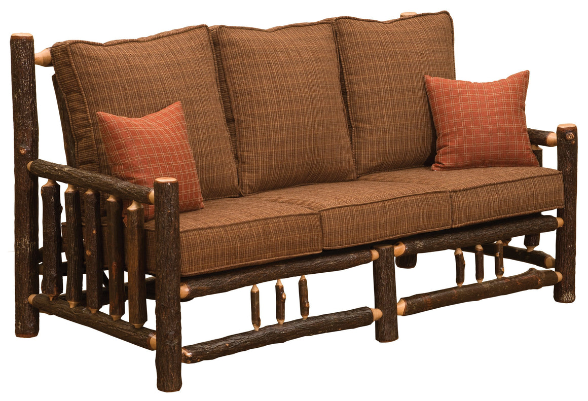 Natural Hickory Log  Frame Sofa - Includes Fabric and Cushions - Rustic Deco Incorporated