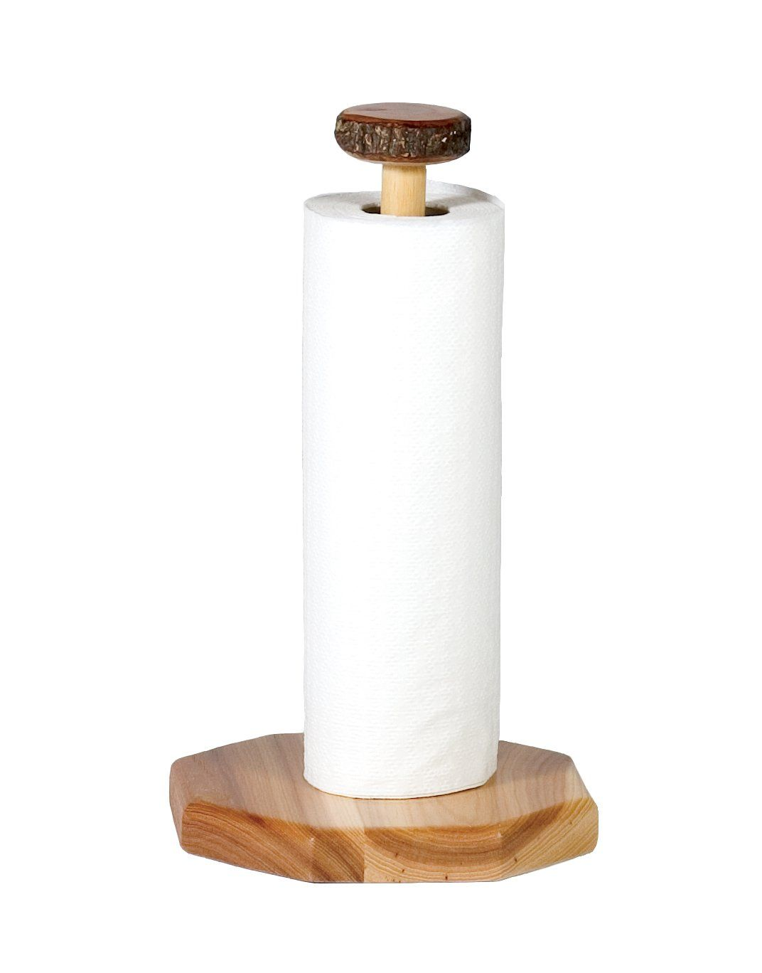 Natural Hickory Log Free Standing Paper Towel Holder - Rustic Deco Incorporated