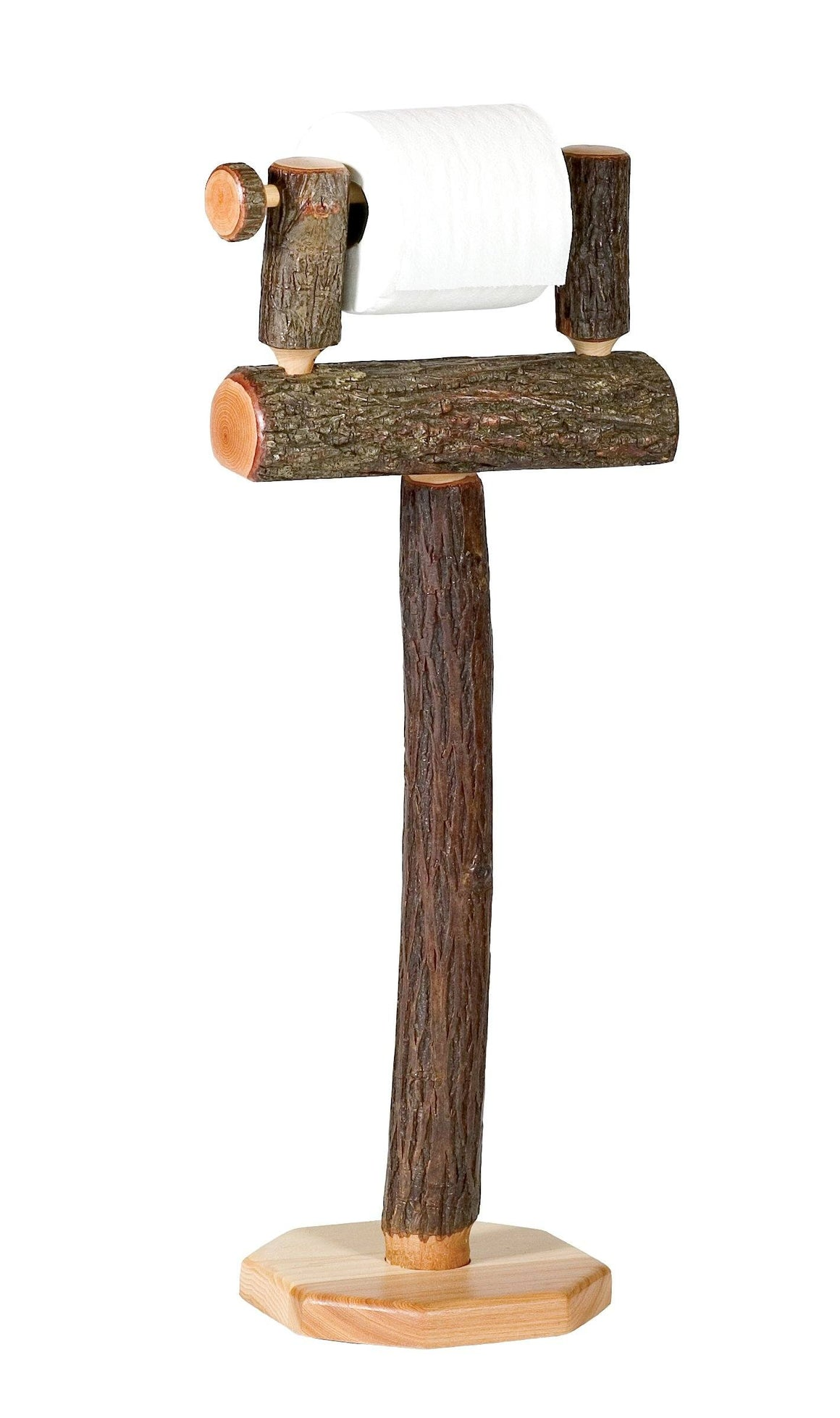 Natural Hickory Log Free Standing Toilet Paper Holder - Rustic Deco Incorporated